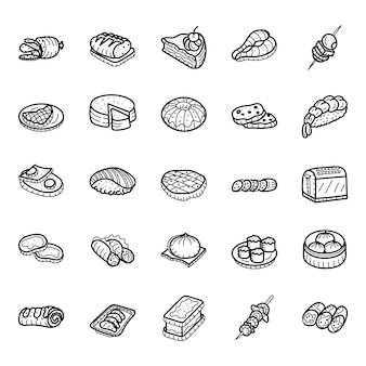 Food in sketchy style icons pack
