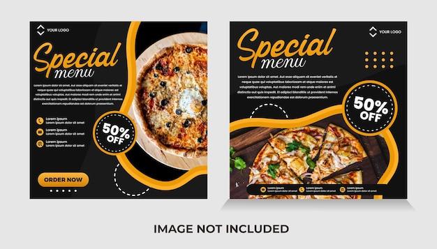 Food social media banner post template premium vector