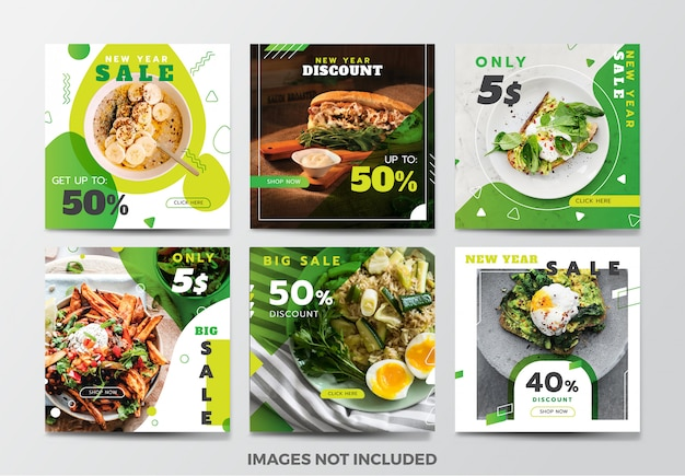 Food social media banner template collection