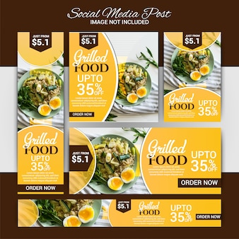 Food social media marketing set