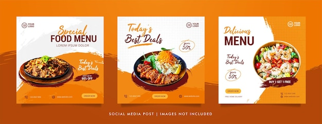 음식 소셜 미디어 게시물 및 홍보 배너 디자인 템플릿