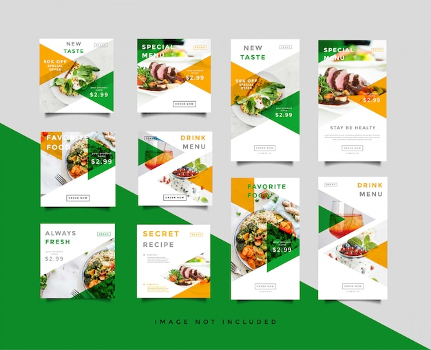 Food social media post & intagram stories template collection