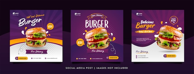 Food social media post and promotion banner design template