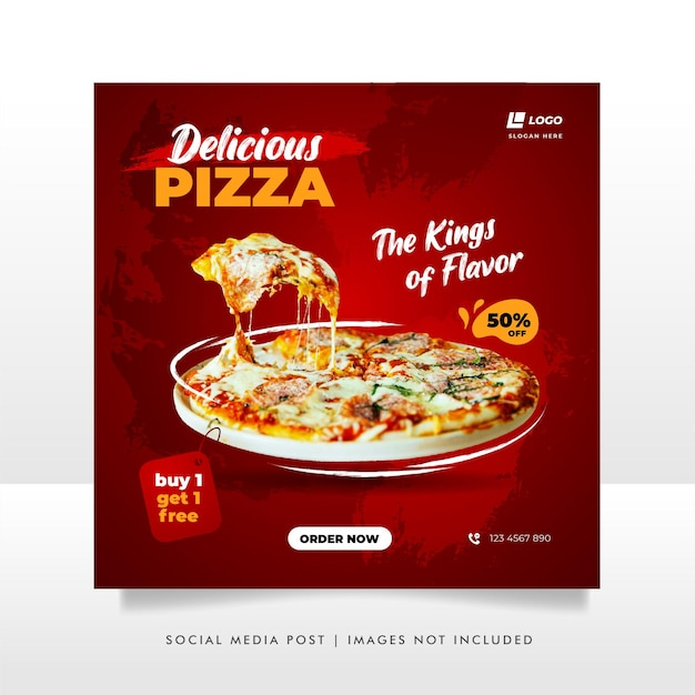 Food social media post and promotion banner design template Premium Vector