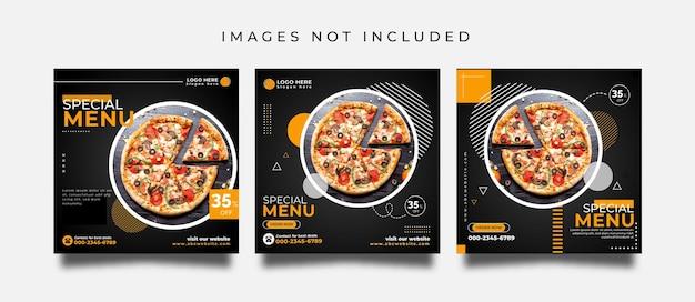 Food social media post or promotion banner design template