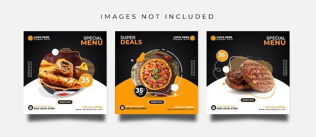Food social media post or promotional banner design template