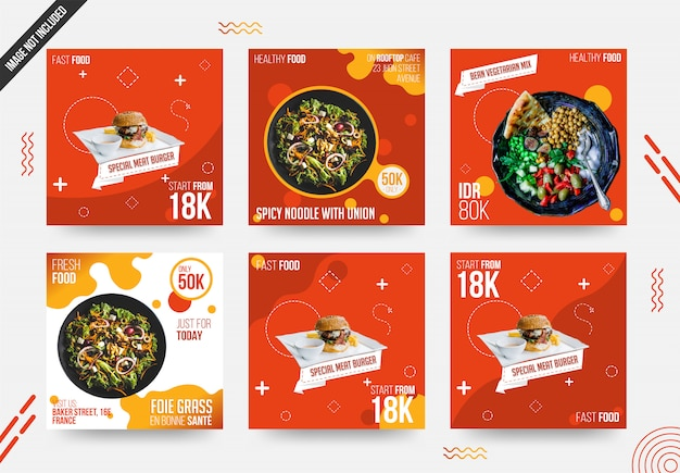 Food social media post set template