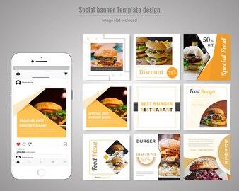 Food Social Media Post Template for Restaurant