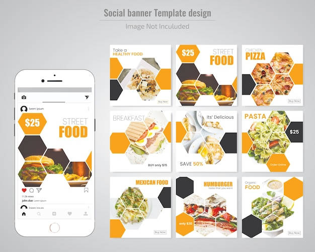 Food social media post template for restaurant
