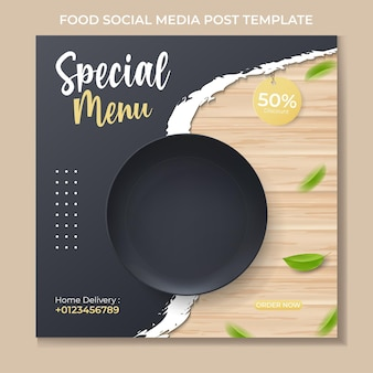 Шаблон сообщения в социальных сетях food с реалистичной черной тарелкой