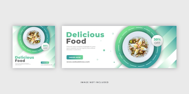 Food social media post web banner & facebook cover template