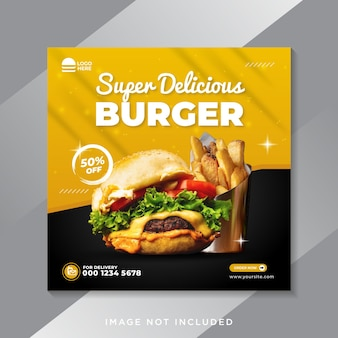 음식 소셜 미디어 홍보 및 instagram 배너 게시물 디자인