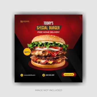 Food social media promotion and banner post design template premium vector