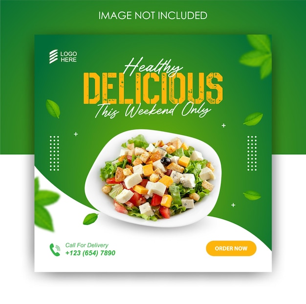 Food social media promotion and banner post template