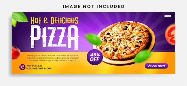 Food social media promotion and facebook cover banner design template