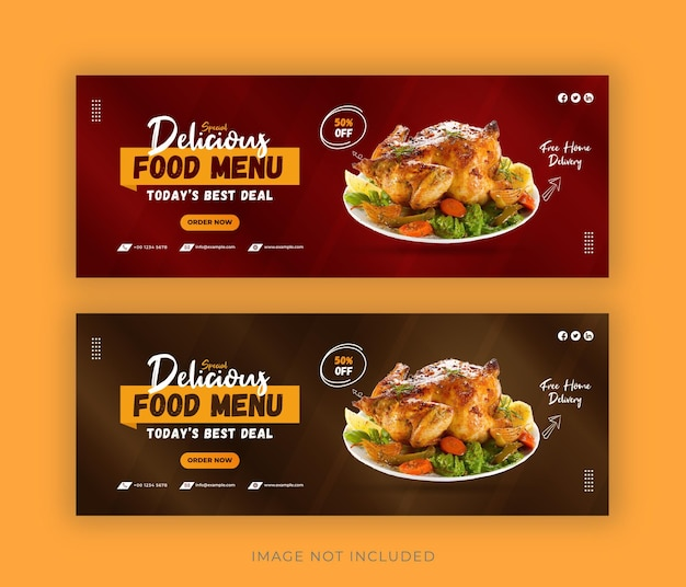 Food social media promotion and facebook cover post design template premium vector