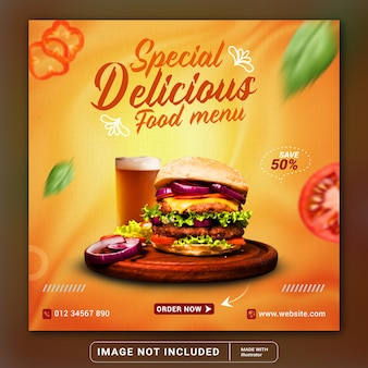 Food social media promotion and instagram banner post template or square flyer