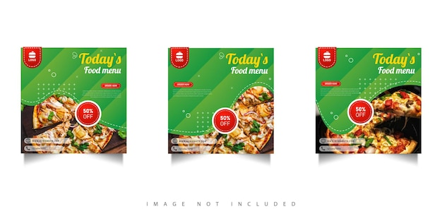 Food social media promotion post with green gradient