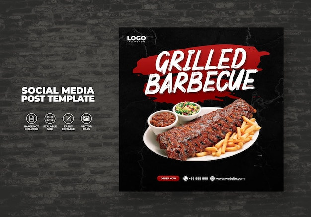 Food social media promotion and restaurant barbecue grill menu banner post free design template