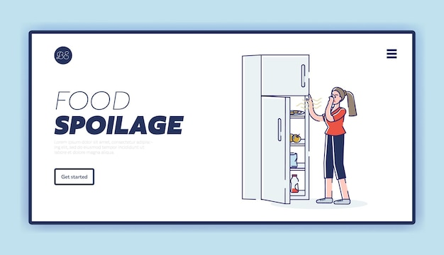 Food spoilage landing page with woman opening fridge with spoiled terminated smelly products