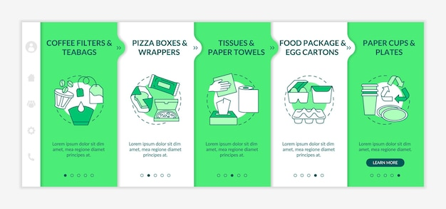 Food-spoiled paper-based waste onboarding  template. teabags, wrappers. paper towels. food package. responsive mobile website with icons. webpage walkthrough step screens. rgb color concept