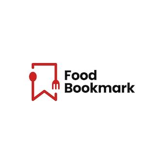 Food spoon fork bookmark restaurant logo vector icon illustration