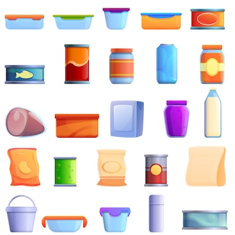 Food storage icons set, cartoon style