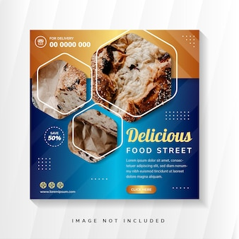 Food street menu banner template social media post template with blue and gold gradient background