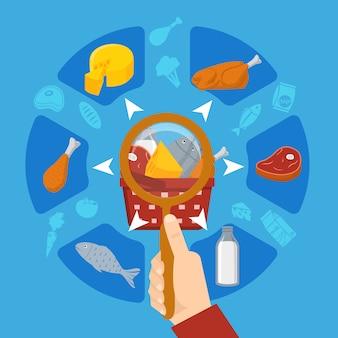Composizione rotonda dell'obiettivo del supermercato dell'alimento a disposizione