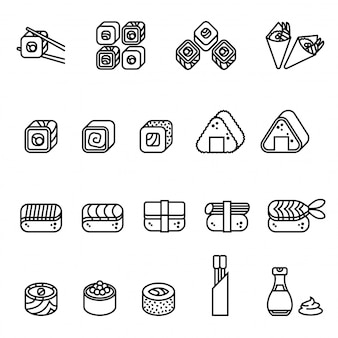 Food sushi icons collection