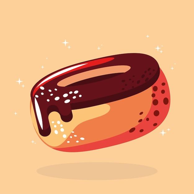 Еда сладкий шоколад пончик десерт