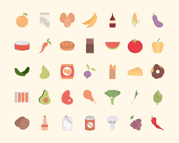 Дизайн коллекции символов еды еды ресторана и иллюстрации темы меню