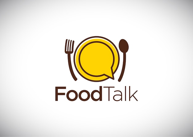 Food talk logo, vector logo template