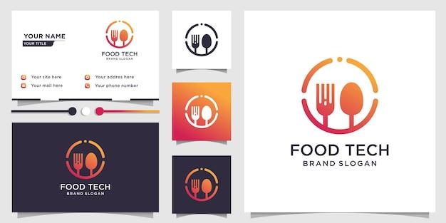 Логотип food tech с креативной концепцией и дизайном визитной карточки