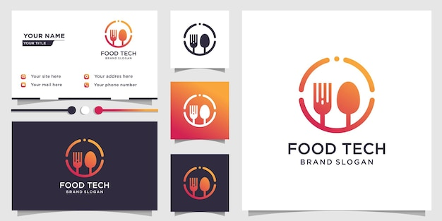 Food tech logo with creative concept and business card design