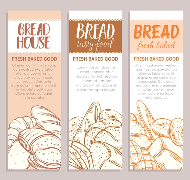 Food template banners with bread product. hand drawn sketch rye and wheat bread, croissant, whole grain bread, bagel, toast bread, french baguette for design menu bakery shop.