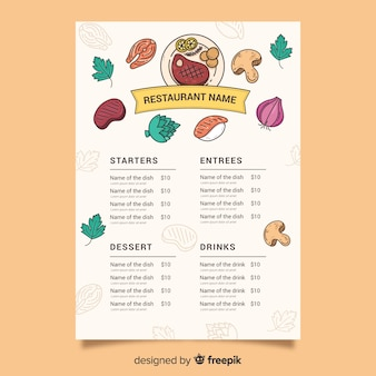 Food template with variety of ingredients
