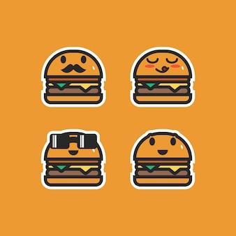 食べ物をテーマにした。かわいいバーガーキャラクター