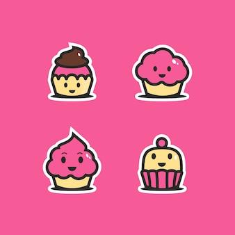食べ物をテーマにした。かわいいケーキのキャラクター