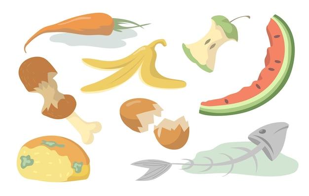 음식 쓰레기 세트. 썩은 과일, 야채, 고기, 생선, 빵 유기 폐기물 똥 배경에 고립. 평면 그림