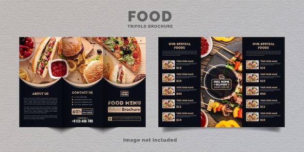 食品3つ折りパンフレットメニューテンプレート。濃い青色のレストランのファーストフードメニューパンフレット。