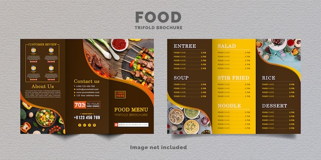 Food trifold brochure menu template. fast food menu brochure for restaurant with yellow and brown coffee color.