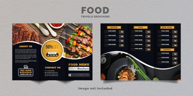 Food trifold brochure menu template. fast food menu brochure for restaurant with yellow and dark blue color.