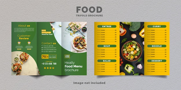 Food trifold brochure menu template. fast food menu brochure for restaurant with yellow and green color.