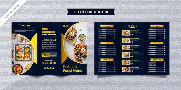 Food trifold brochure template. fast food menu brochure for restaurant with dark blue and yellow color.