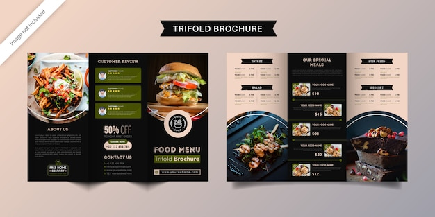 Food trifold brochure template. fast food menu brochure for restaurant with green and dark blue color.