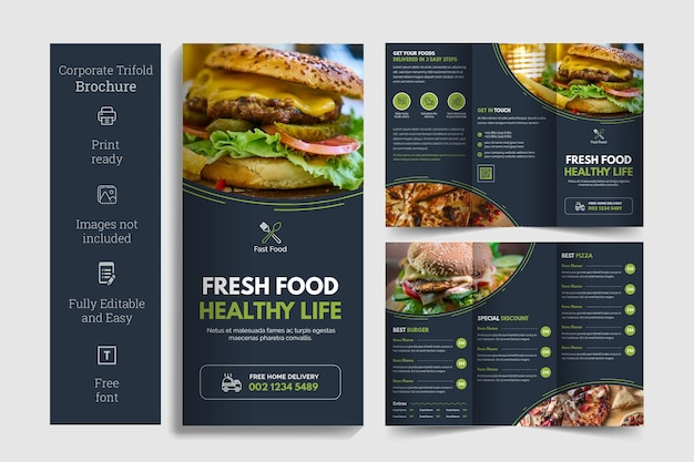 Food trifold brochure template