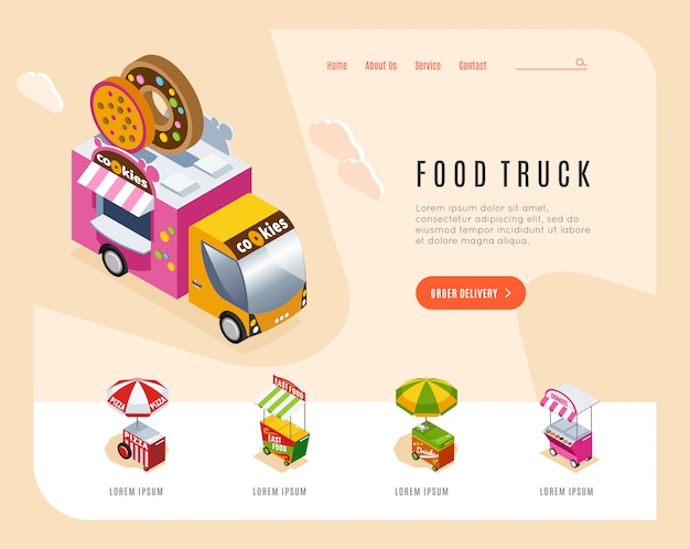 La pagina di atterraggio di pubblicità del camion dell'alimento con le immagini isometriche del furgone della via e dei carretti che vendono l'illustrazione di vettore del forno