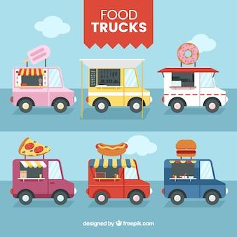 Коллекция грузовых грузовиков с плоской конструкцией