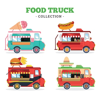 Food truck collection with flat style
